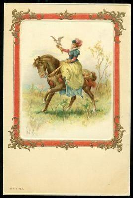 FALCONRY WOMAN Rides Side Saddle On Horse Early 1900S Artist Postcard ...