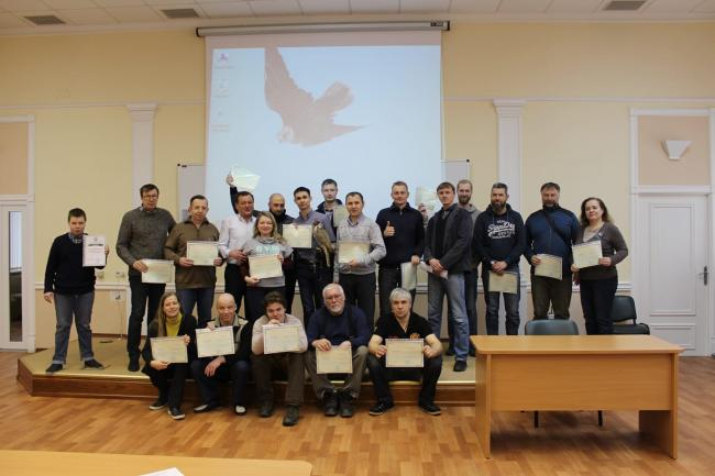 Graduates of the special falconry course in Moscow Russia in March 2019