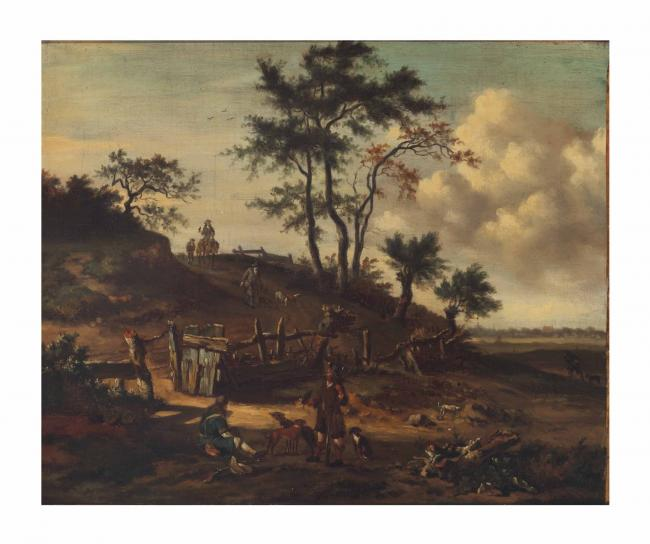 An extensive landscape with falconers and dogs on a path after Jan Wijnants