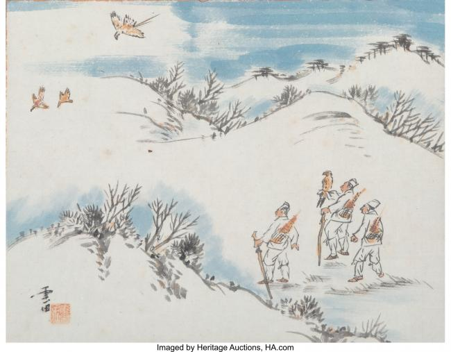 Korean School. Three Falconers, Early 20th Century. Ink and Color on Paper. 9-3/4 x 12-1/2 inches
