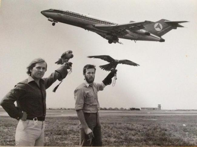 Anthony Crosswell and Larry Townsend at Sydney airport in Australia in 1974