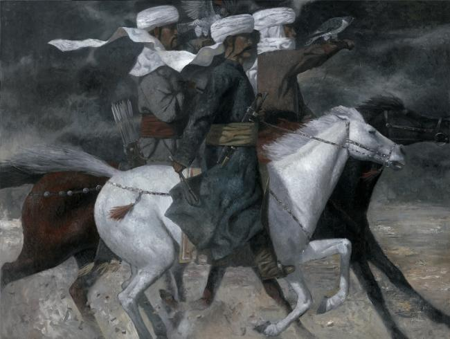 Falconry by Zorikto Dorjiev (2009) in Tretyakov Gallery on Krymskiy Val in Moscow