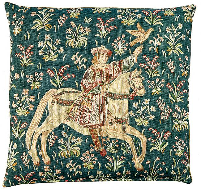 Medieval falconer (pillow) from Fleur de Lys tapestry