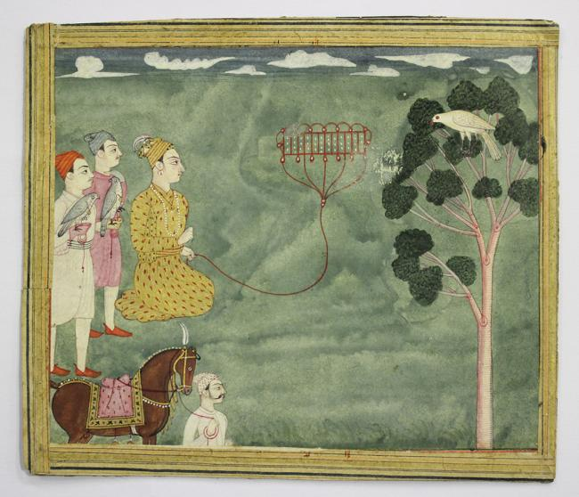 Indian School - Falconry Scene, and Lady in a Temple, watercolour and gouache recto and verso of a s