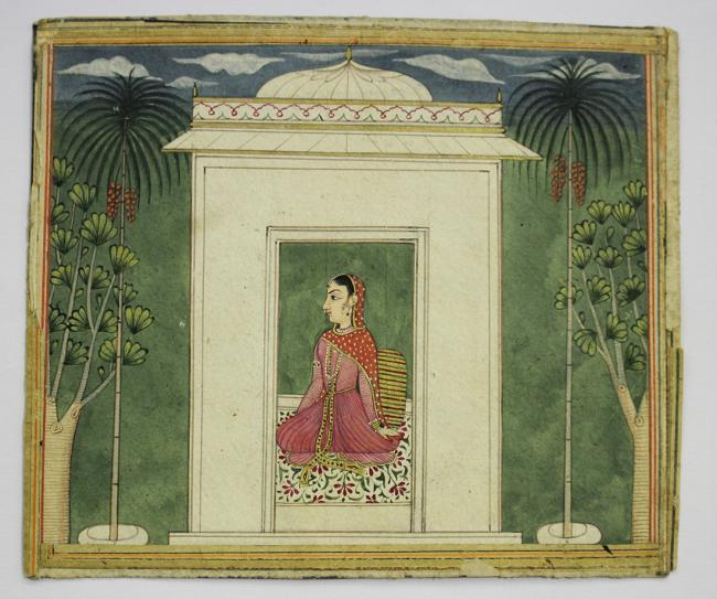 Indian School - Falconry Scene, and Lady in a Temple