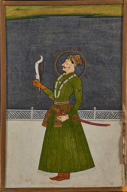 Lot 1001 - Indian Manuscript Illustration Portrait of a prince with falcon, Kishangargh, late 18th c