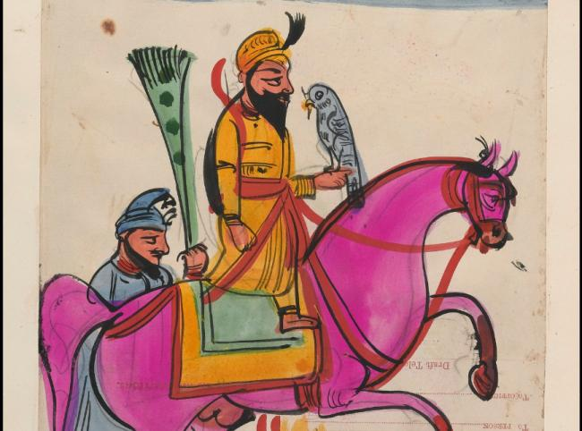 Page 108: Sikh man with a falcon on horseback, identified as Guru Gobind Singh. Watercolour drawing.