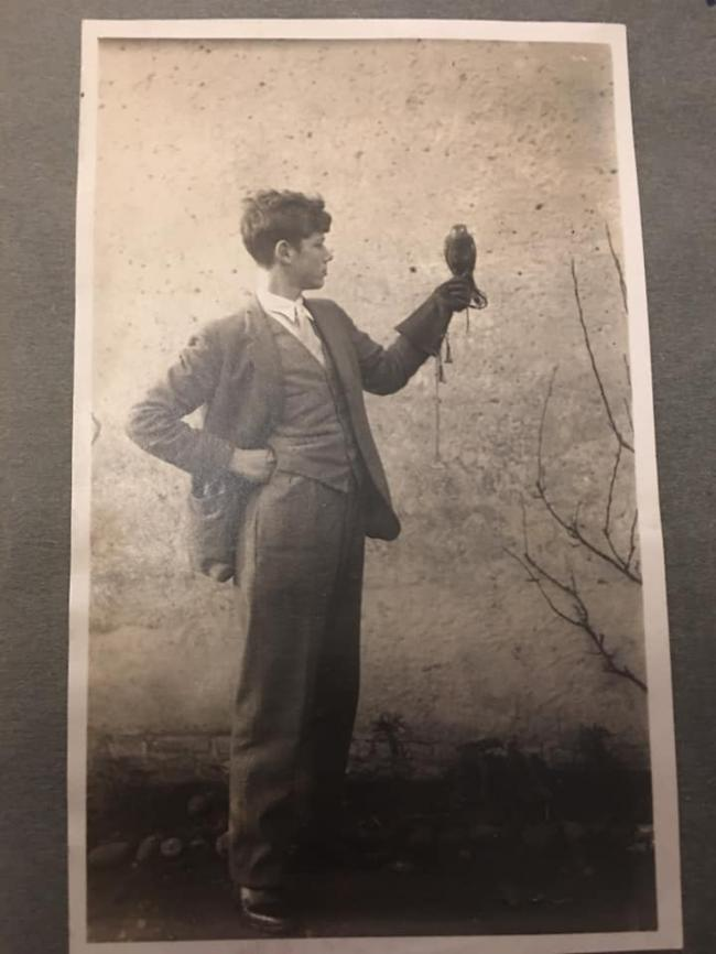Anthony Jack with his first hawk a kestrel in 1930
