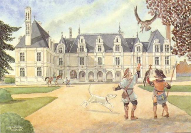 Two falconers with a dog in front of Palace  Château de Beauregard - water colour