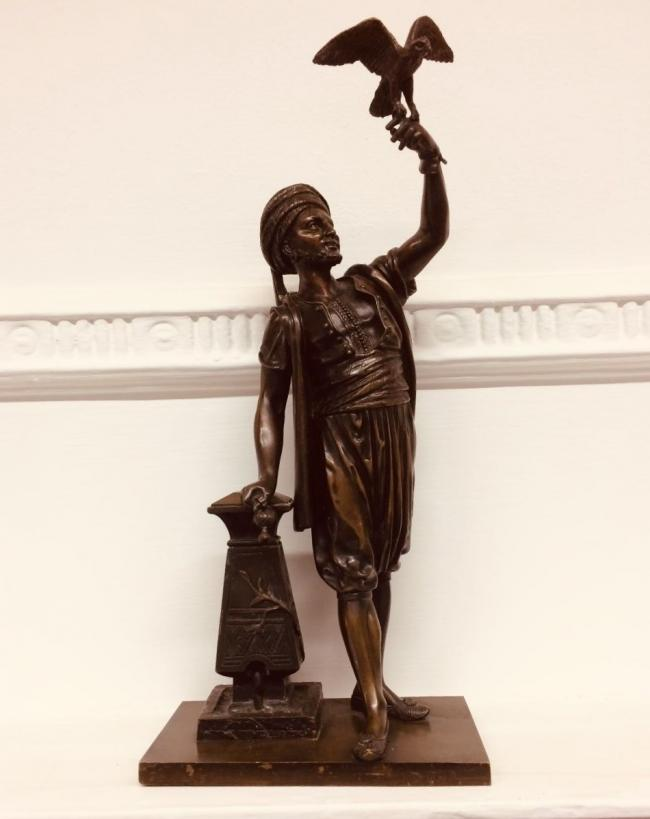 Superb French Bronze by Leon Pilet - the Falconer C.1900 2