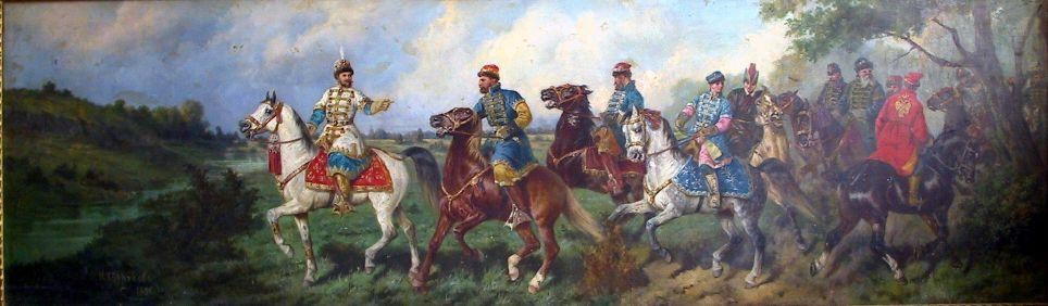 Departure of tsar Alexei Mikhailovich for falconry by Nikolai Egorovich Sverchkov (1817-1898)