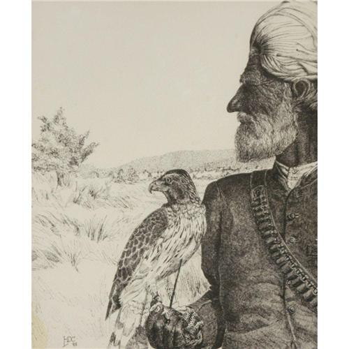 146 HDC Pen & Ink Falconer signed by LL