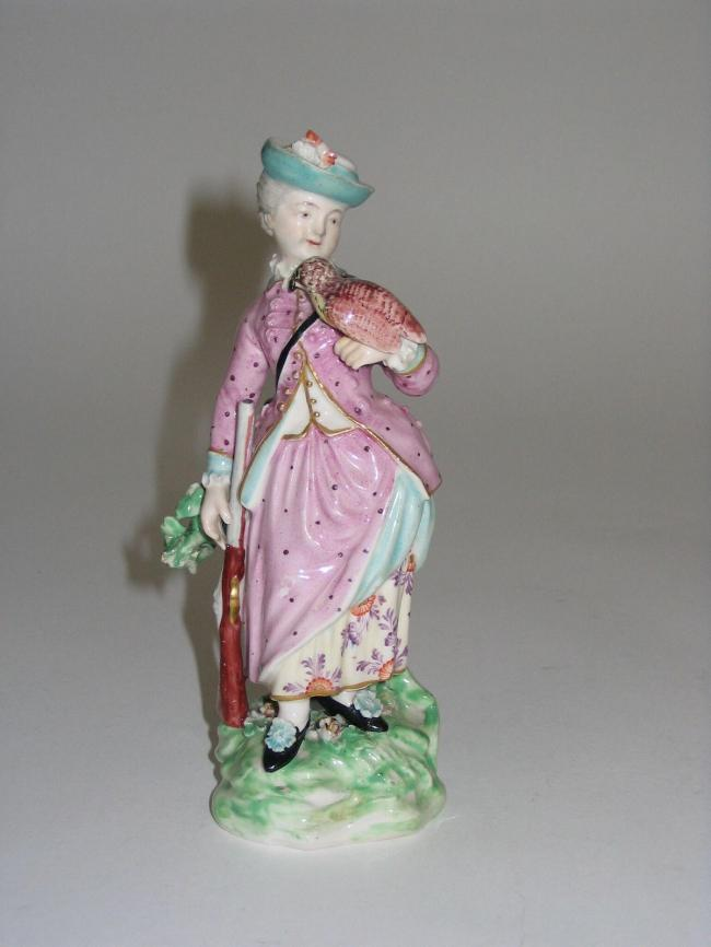 A Derby figure of a lady falconer. Circa 1800