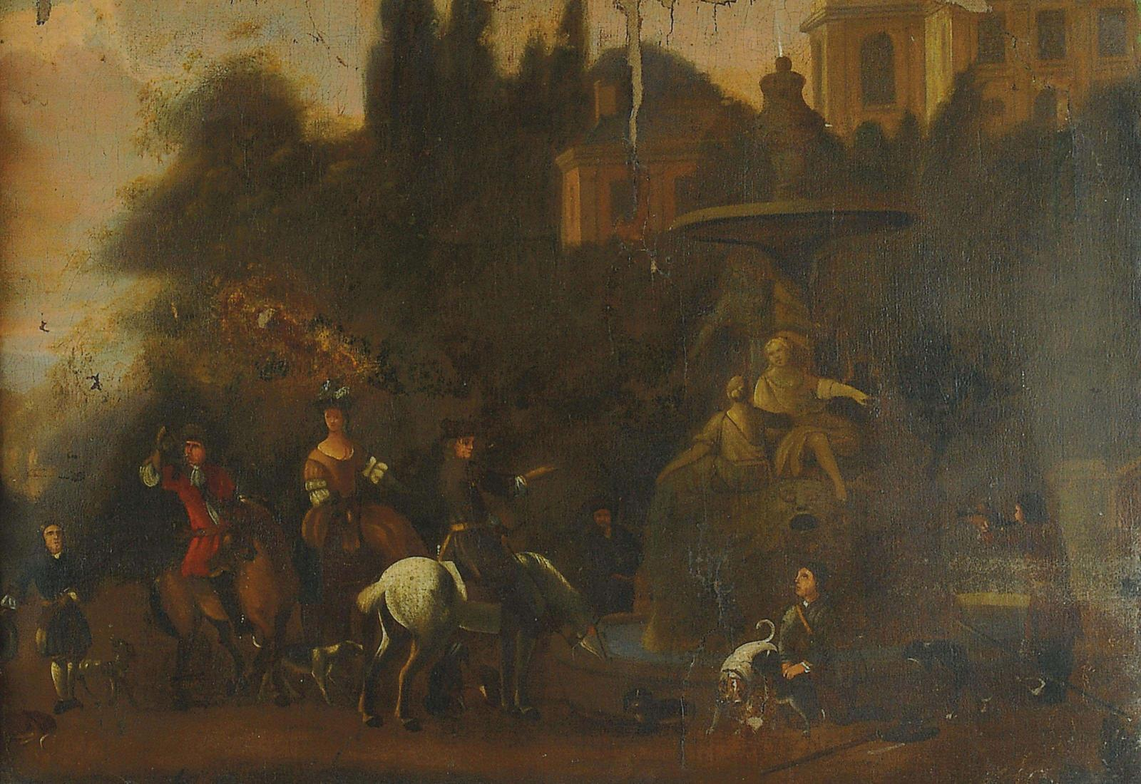 A hawking party at rest before an Italiante fountain - Manner of Dirck Stoop (c.1615-1686)