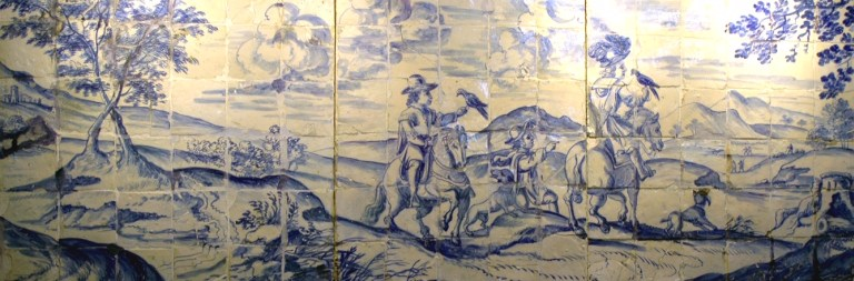Tile with hunting scne from Museo Regional de Beja in Portugal